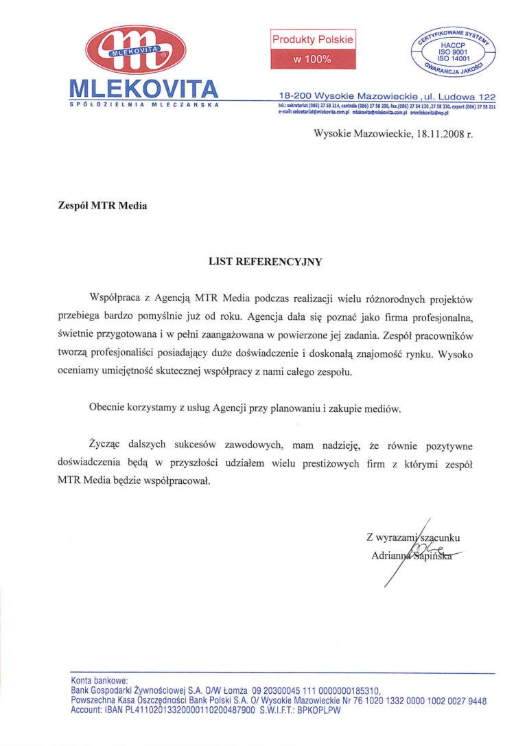 Rekomendacja - MLEKOVITA