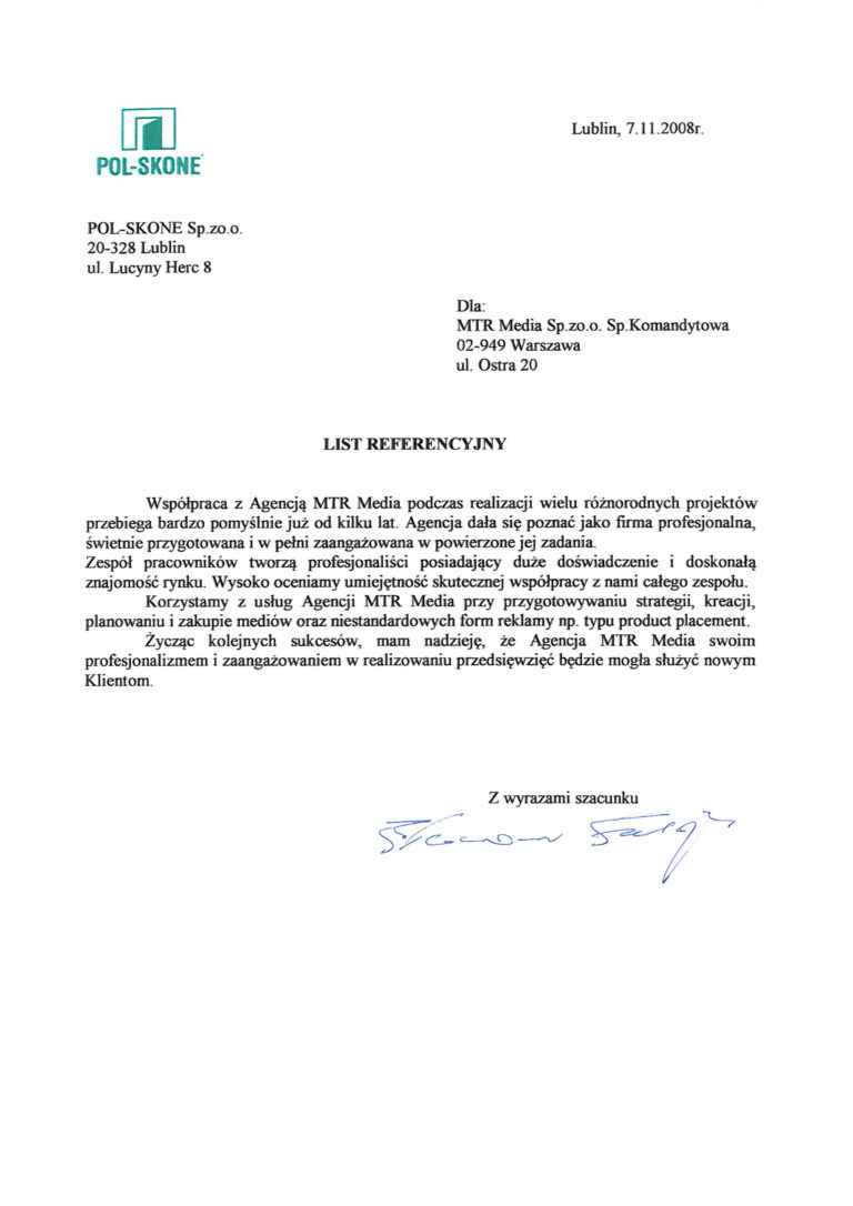 Rekomendacja - POLSKONE